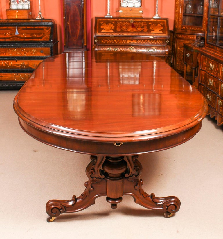 Antique Victorian Mahogany Twin Base Dining Table 19th ...