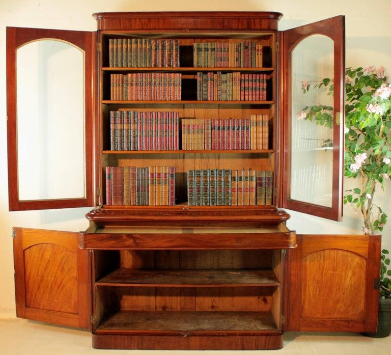 Antique Victorian Mahogany Two-Door Bookcase, English, circa 1870 For Sale 6