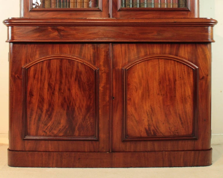 Late 19th Century Antique Victorian Mahogany Two-Door Bookcase, English, circa 1870 For Sale