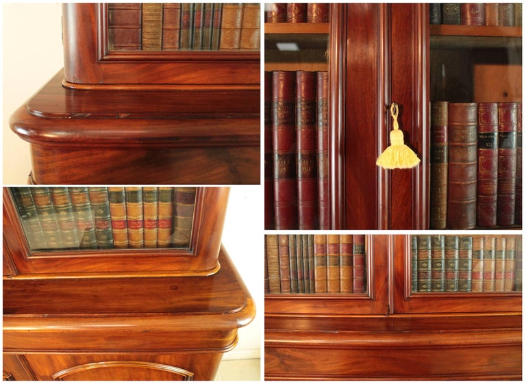 Antique Victorian Mahogany Two-Door Bookcase, English, circa 1870 For Sale 5