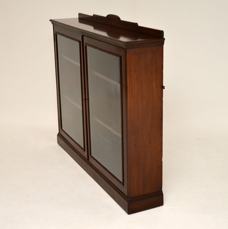 Antique Victorian Mahogany Two-Door Bookcase For Sale 1