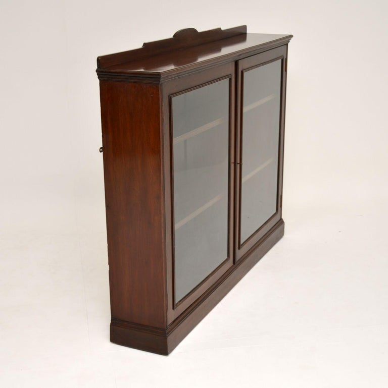Antique Victorian Mahogany Two-Door Bookcase For Sale 2