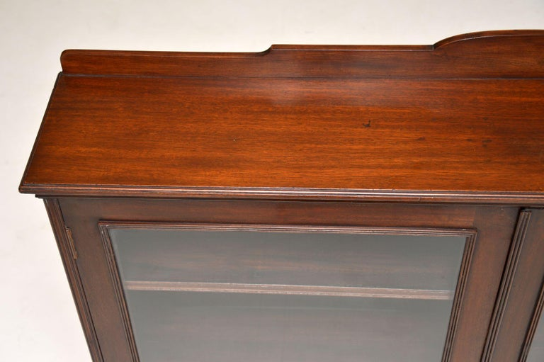 Antique Victorian Mahogany Two-Door Bookcase For Sale 4