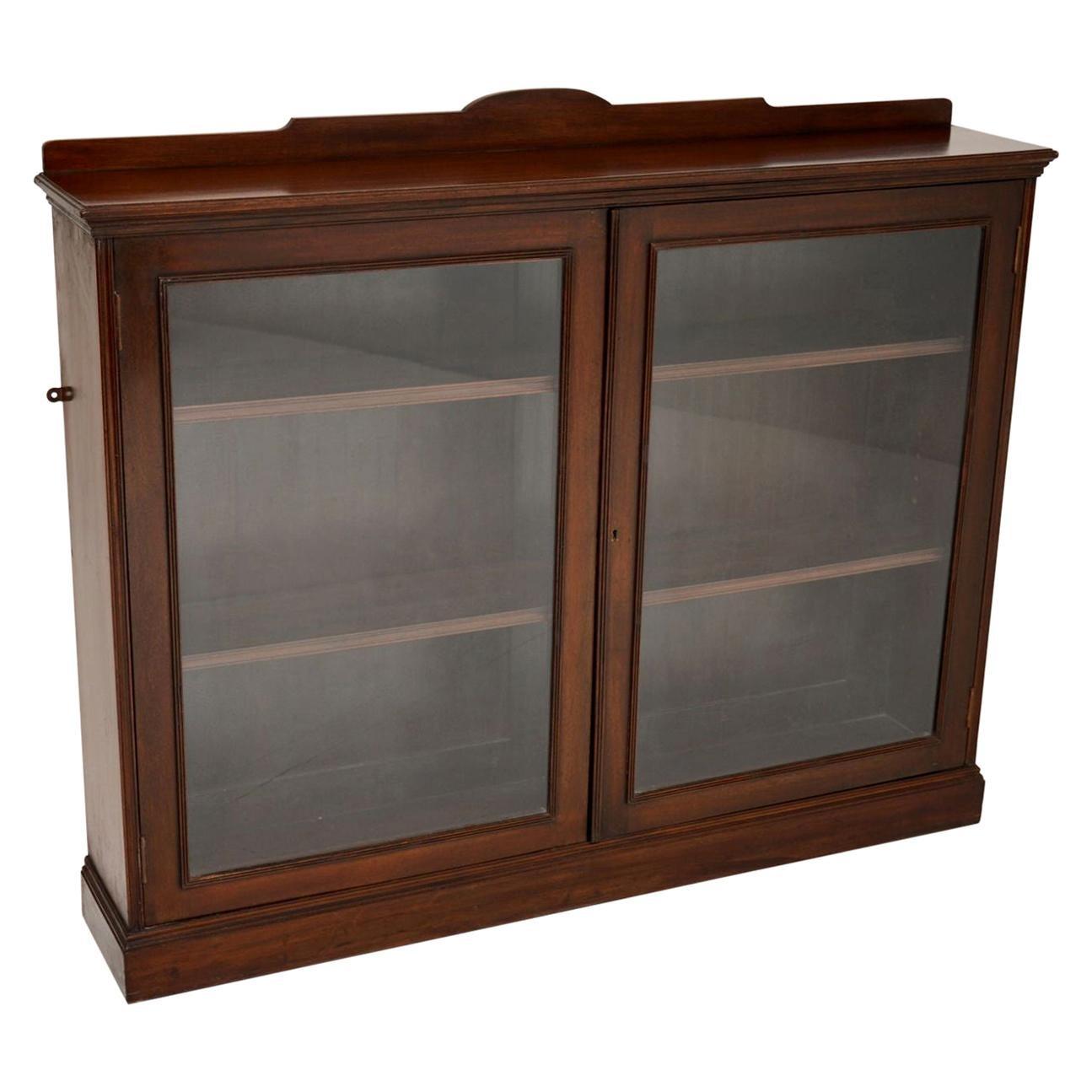 Antique Victorian Mahogany Two-Door Bookcase