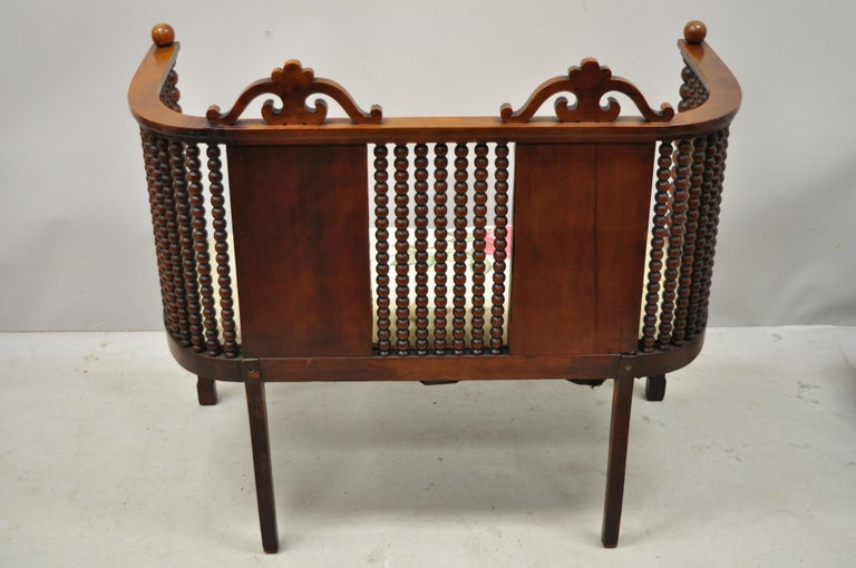 Antique Victorian Mahogany Upholstered Victorian Spool Spindle Bench Loveseat For Sale 5