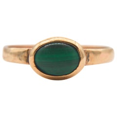 Antique Victorian Malachite 9 Karat Gold Sark Channel Islands Signet Ring