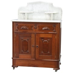 Antique Victorian Marble-Top Walnut Commode Washstand, circa 1890