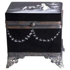 Antique Victorian Mary Gregory Black Amethyst Dresser Box, circa 1890