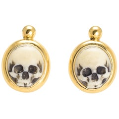 Antique Victorian Memento Mori Skull Earrings