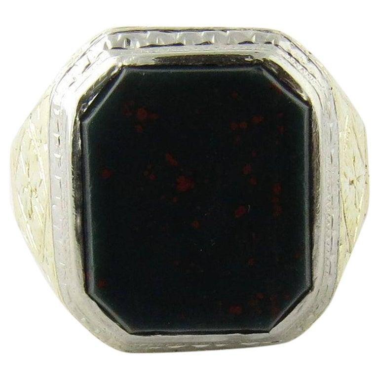 Antique Victorian Men's 14 Karat Gold Bezel Set Bloodstone Ring
