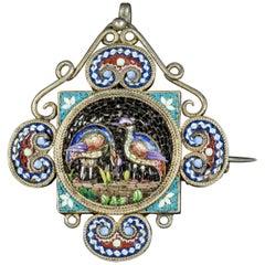 Antique Victorian Micro Mosaic Bird Pendant Brooch, circa 1860