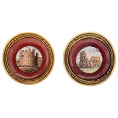 Antique Victorian Micro Mosaic Earrings 18 Karat Gold Roman Scene Jewelry, Rome