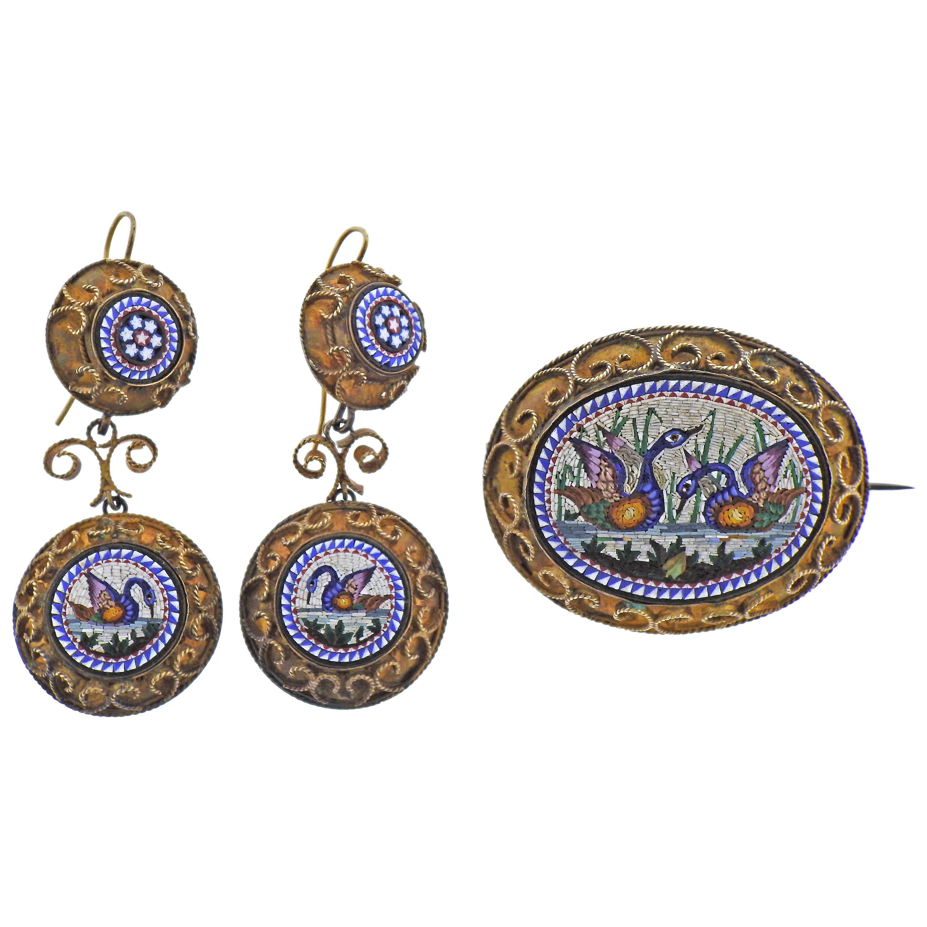 Antique Victorian Micro Mosaic Gold Earrings Brooch Set