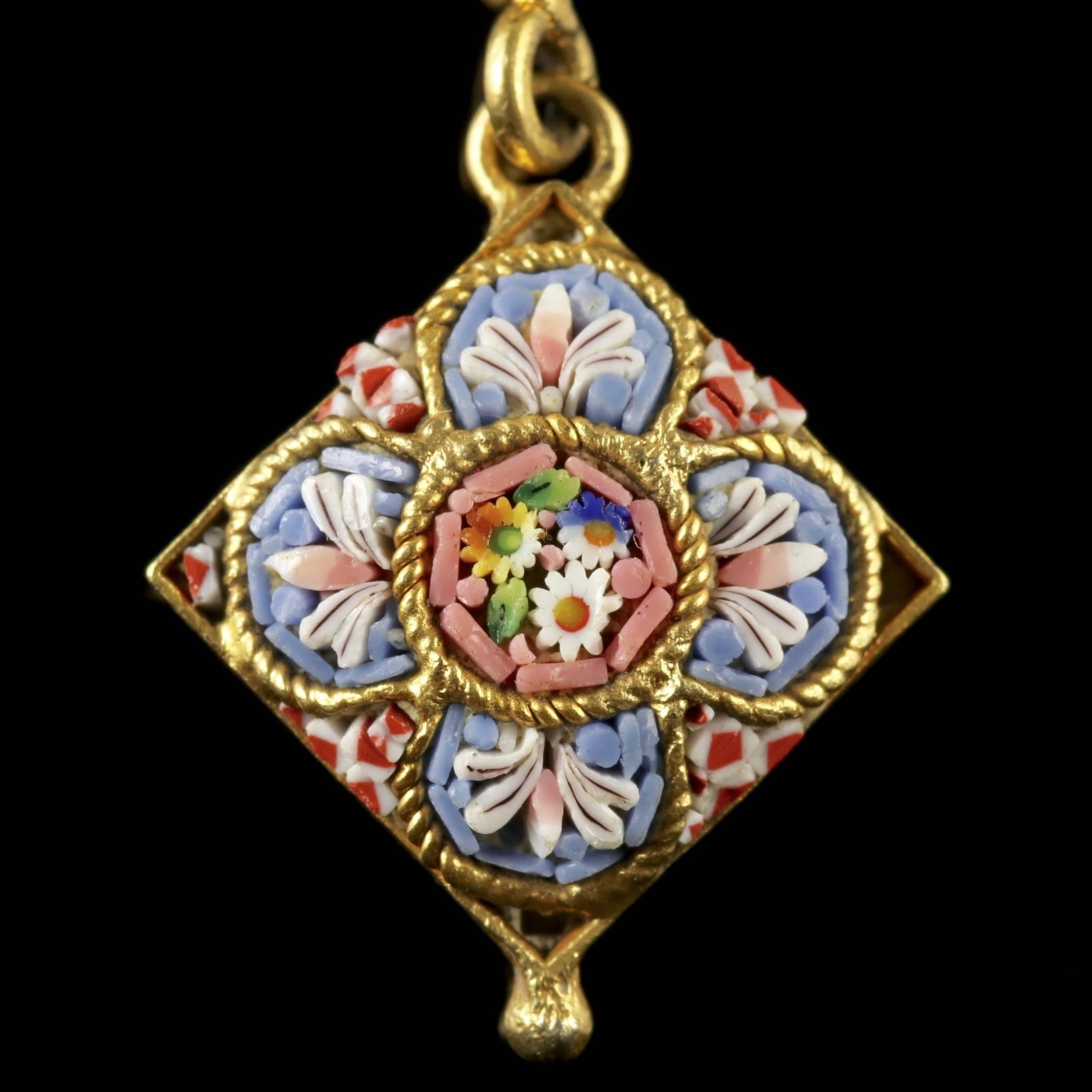 Antique victorian micro mosaic necklace 18 carat gold gilt circa antique victorian micro mosaic necklace 18 carat gold gilt circa 1895 at 1stdibs aloadofball Image collections
