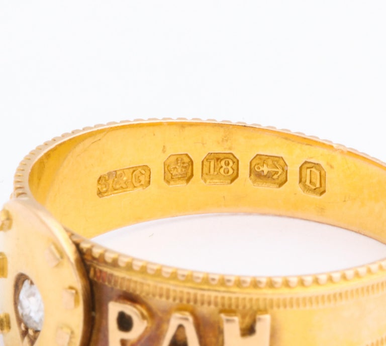 Antique Victorian Mizpah Ring with Horseshoe and Diamond In Excellent Condition For Sale In Riverdale, NY