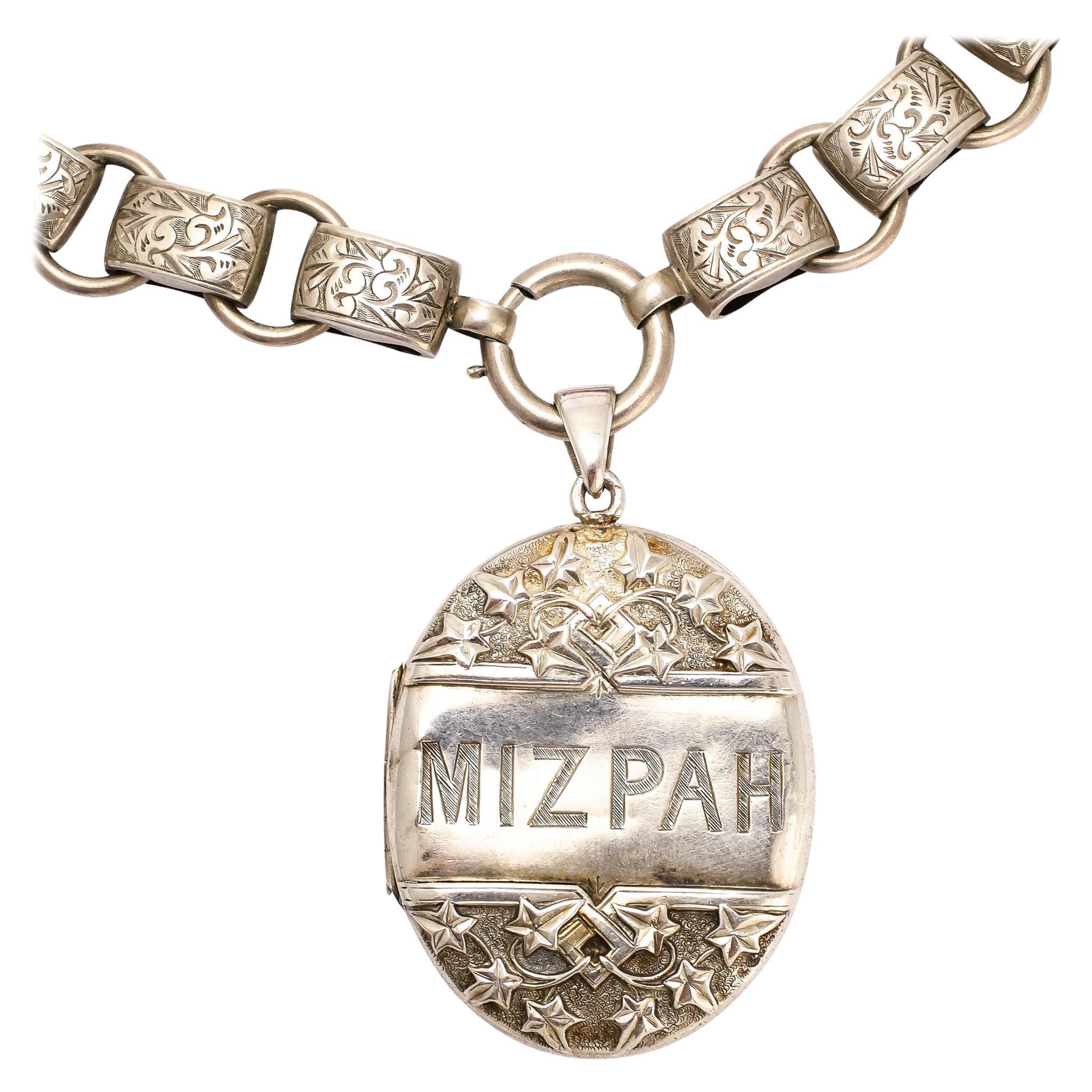 Antique Victorian MIZPAH Silver Locket Collar Necklace
