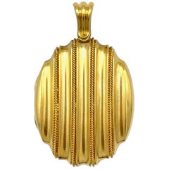 Antique Victorian Modernist Gold Locket Pendant