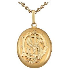 Antique Victorian Monogrammed Locket in Yellow Gold