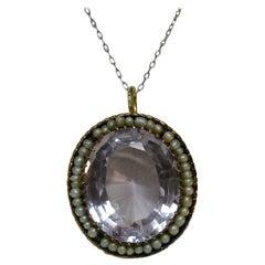 Antique Victorian Monumental 22 Carat Amethyst Pearl 18 Karat Gold Pendant