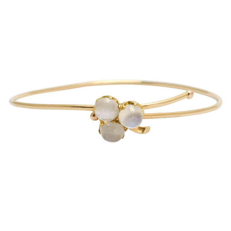 Antique Victorian Moonstone Clover Trefoil Gold Bangle
