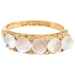Antique Victorian Moonstone Diamond Band 18 Karat Gold Vintage Ring English
