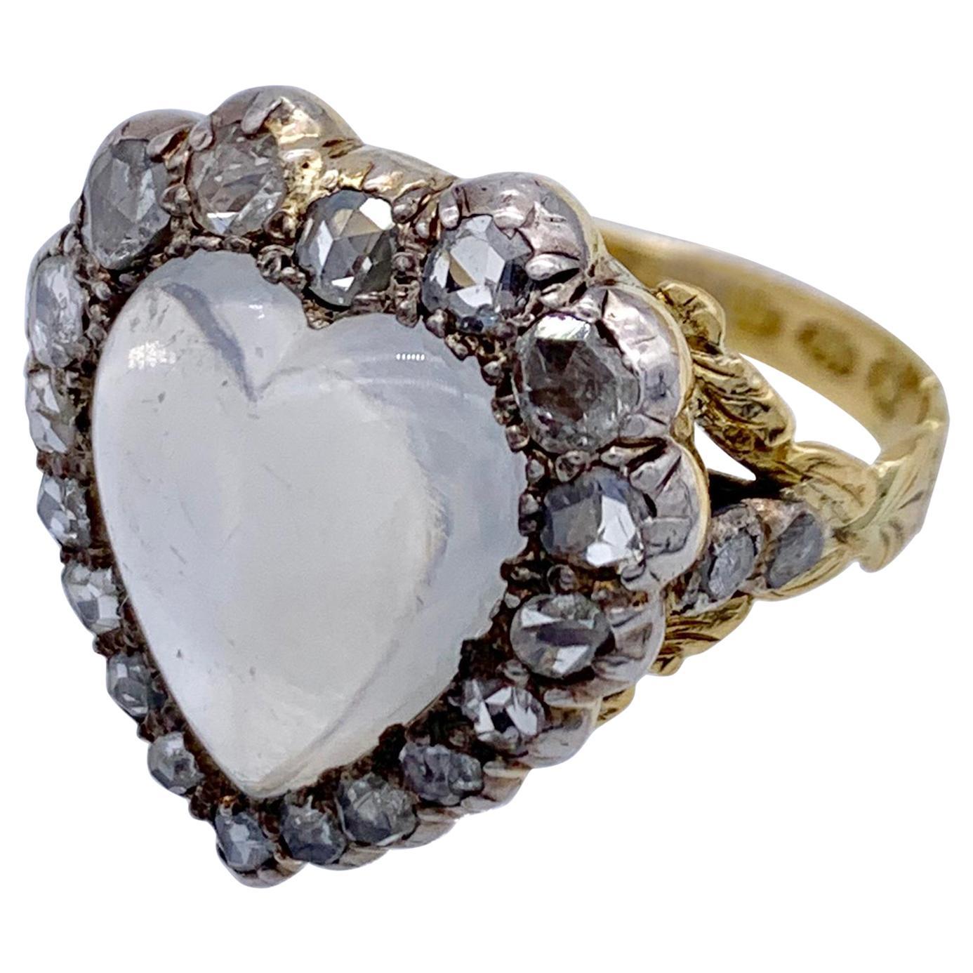 Victorian 18 Karat Gold Silver Diamond Moonstone Cabochon Heart Love Token Ring