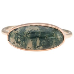 Antique Victorian Moss Agate Conversion Ring 14 Karat Gold Vintage Jewelry