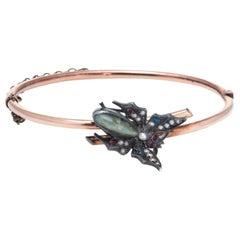 Antique Victorian Moth Bracelet 14 Karat Gold Silver Chrysoberyl Fine Vintage