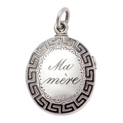 Antique Victorian Mother and Father Greek Key Locket