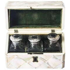 Antique Victorian Mother-of-Pearl Cased Scent Bottles, 19th Century