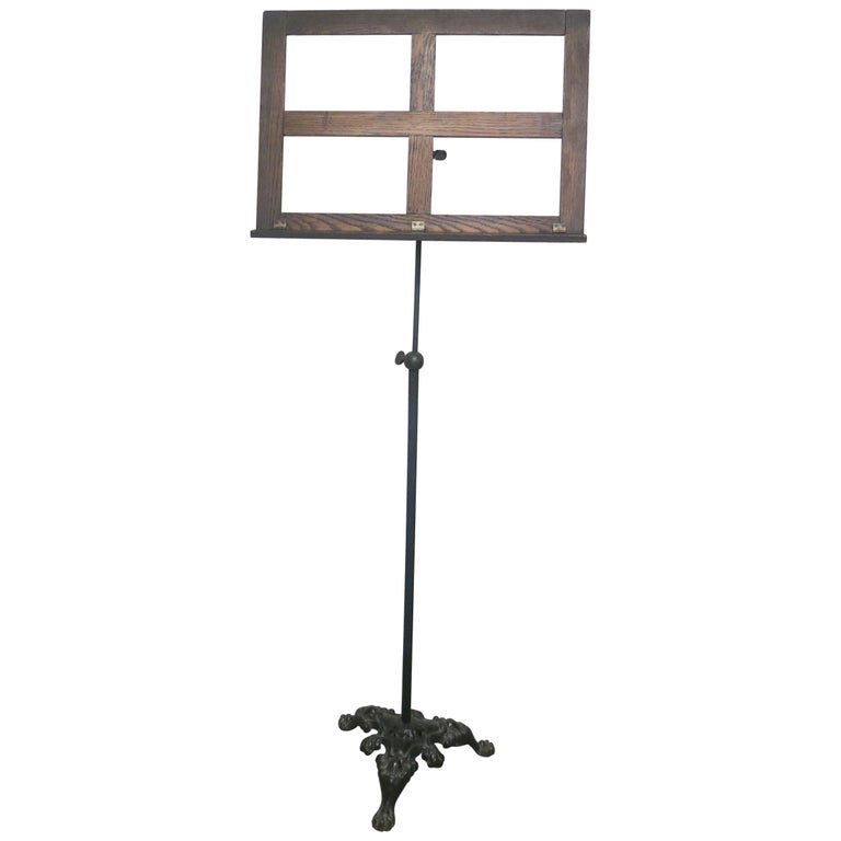 antique victorian music stand oak and iron for sale at 1stdibs. Black Bedroom Furniture Sets. Home Design Ideas