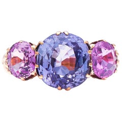 Antique Victorian, Natural Color Change Sapphire and Pink Sapphire Ring