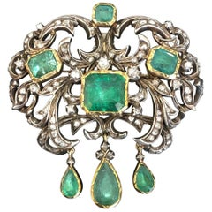 Antique Victorian Natural Emerald and Diamond Brooch and Earrings