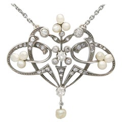Antique Victorian Natural Pearl and Diamond Yellow Gold Pendant
