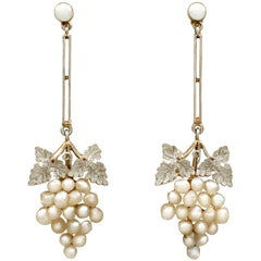Antique Victorian Natural Pearl and Yellow Gold Platinum Set Drop Earrings