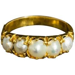 Antique Victorian Natural Pearl Five-Stone Ring 18 Carat Gold, circa 1860