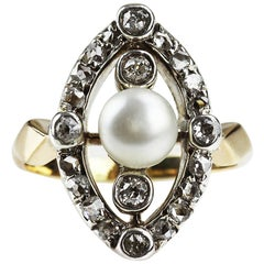 Antique, Victorian Diamond and Natural Pearl Ring, in 18K Gold & Silver