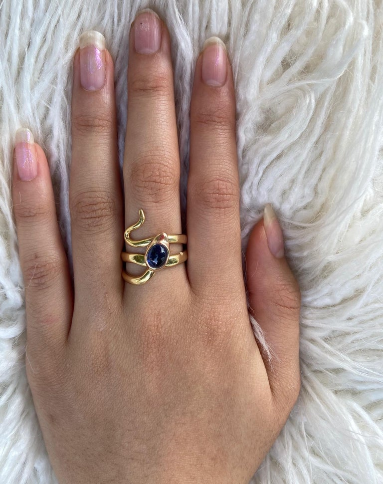 Natural Sapphire and Diamond Eyed Snake Ring For Sale 6