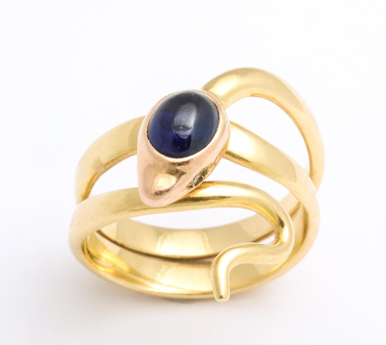 Late Victorian Natural Sapphire and Diamond Eyed Snake Ring For Sale