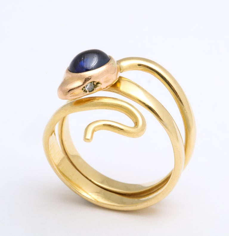 Natural Sapphire and Diamond Eyed Snake Ring For Sale 2