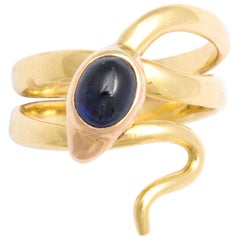 Antique Victorian Natural Sapphire Diamond Eyed Serpent Ring