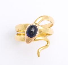 Antique Victorian Natural Sapphire Diamond Eyed Serpent Ring