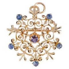 Antique Victorian Natural Sapphire Starburst Brooch/Pendant 14 Karat Yellow Gold