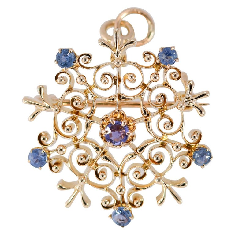 Antique Victorian Natural Sapphire Starburst Brooch/Pendant 14 Karat Yellow Gold For Sale
