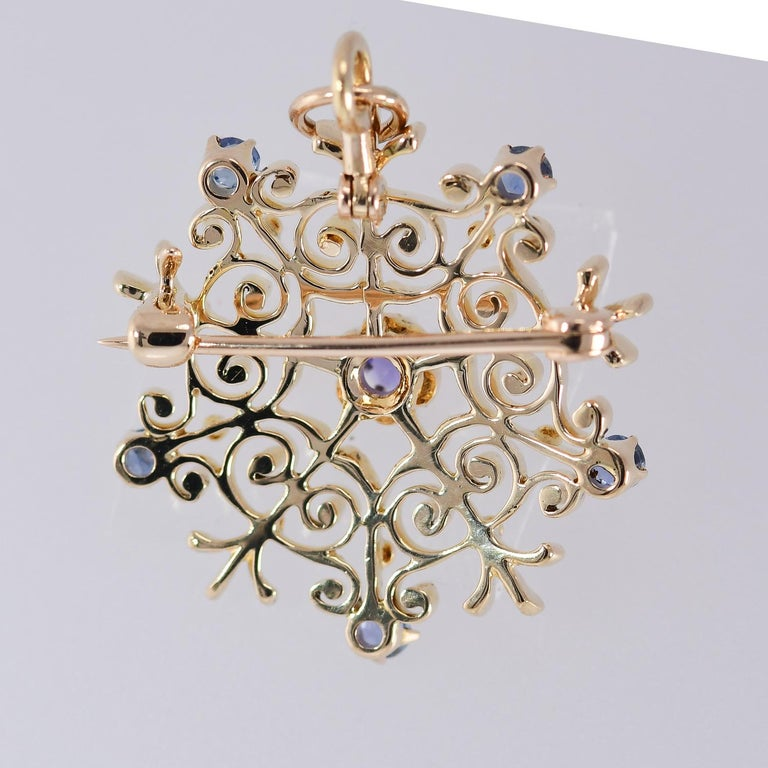 Round Cut Antique Victorian Natural Sapphire Starburst Brooch/Pendant 14 Karat Yellow Gold For Sale