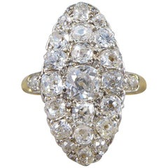Antique Victorian Navette Marquise Shaped Diamond Cluster Ring, 18 Carat Gold