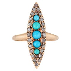 Antique Victorian Navette Ring Persian Turquoise Rose Cut Diamond 10k Gold 5.25