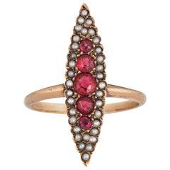 Antique Victorian Navette Ring Ruby Doublet Seed Pearl 14 Karat Gold Vintage