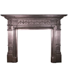 Antique Victorian Neoclassical Cast Iron Fireplace Surround
