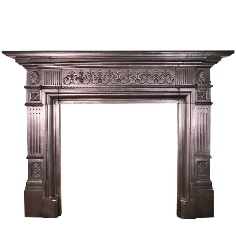 Antique Victorian Neoclical Cast Iron Fireplace Surround For